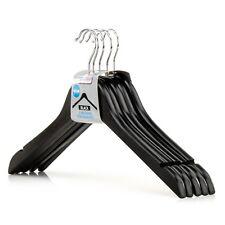 """Hangerworld�""""� 10 Black 45cm Wooden Top Coat Clothes Hangers Skirt Trouser Loops"""