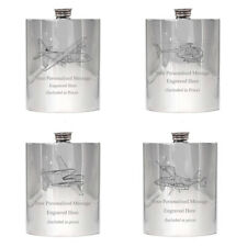 More details for military aviation pewter hip flask 6oz pilot engineer made wedding birthday gift