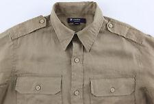 Men's DANIEL CREMIEUX Khaki Tan Linen Pocket Safari Shirt L Large NWT NEW