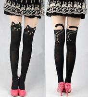 Collants tête chat originaux harajuku kawaii façon chaussettes noires et chair