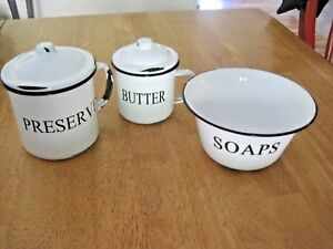 FRENCH COUNTRY FARMHOUSE ENAMELWARE, SET OF (3) PRESERVES, BUTTER, SOAPS, EUC