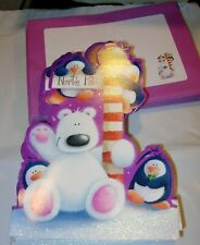 40 Christmas Cards & Envelopes Polar Bear North Pole Penguins 6X8 Purple Glitter