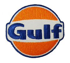 Gulf Oil Gasoline Vintage Biker F1 Iron/ Sew-on Embroidered Patch Jacket Badge