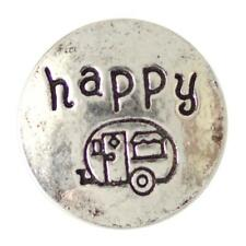 Happy Camper 20MM Antiqued Silver Tone Snap Button Charm For Snap Jewelry NEW