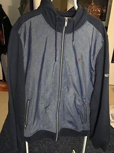 Original Penguin Navy Cotton Full Zip-Up  Blue Hoodie Sweater Size XL EUC