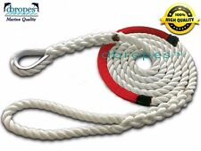 "3 Strand Mooring Pendant PREMIUM Nylon Rope 5/8"" X 12' w/Thimble&Red Chafe Guard"