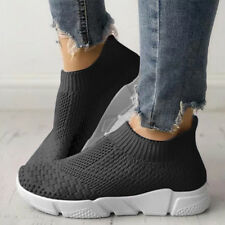 Women Ladies Slip On Trainers Walk Go Sports Comfy Sock Sneakers Mesh Shoes Size