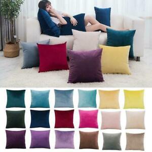 Velvet Cushion Cover Pillow Case Color Pillowcase Decor Cushions Room Y6G9