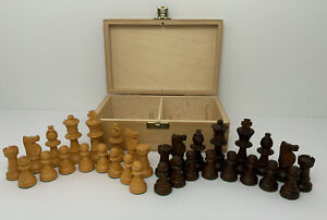 Vtg Lardy Weighted Chess Set Hand Carved Butterscotch Brown Pcs Box W. Germany