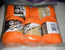 """5 Skeins, Lily, """"Sugar 'N Cream"""", Hot Orange, 100% Cotton Yarn"""