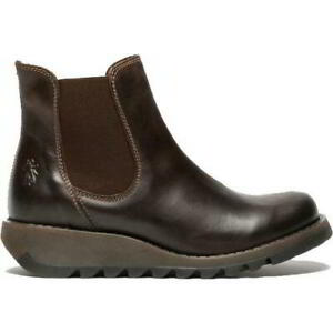 Fly London Salv Womens Ladies Brown Leather Wedge Chelsea Ankle Boots Size 4-9