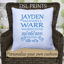 Personalised Cushion Pillow Case Cover Baby Birth Name Date Weight Boy Gift