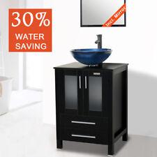 "24"" Bathroom Vanity Mirror W/ Top Tempered Glass Vessel Sink Faucet Drain Combo"