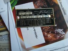 1959 FORD FAIRLANE 2DR HARDTOP DATA TAG FOR HISTORICAL COLLECTING