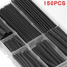 150X Black Heat Shrink Tubing Tube Cable Sleeving Wire Wrap Shrinkage Heatshrink
