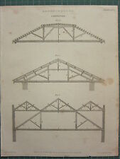 1805 DATED ANTIQUE PRINT ~ ARCHITECTURE CARPENTRY ROOF