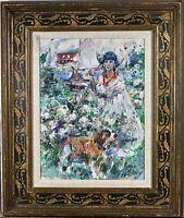 "Paul Williams Oil on Canvas Impressionist Painting ""Jardin du Port"" Port Garden"