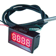 Red LED Digital Car Temperature Meter Thermometer -55-125°C DS18B20 Sensor F/C M
