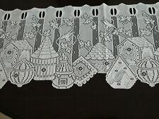 1 panel ivory lace curtain valance hummingbird bird houses 64 X 14