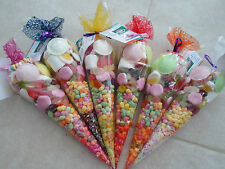 FRESHLY MADE PRE FILLED LARGE SWEET CONES/PARTY BAGS/FAVOURS MIXED COLOURS