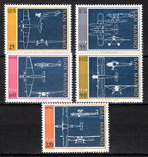 San Marino - 1973 Airplane constructions -  Mi. 1041-45 MNH (Minor gum toning)