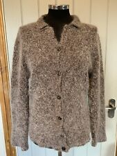 Laura Ashley Vintage Boucle Wool Mohair Cardigan Jacket Jumper Fawn Brown Large