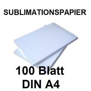 100 Blatt DIN A4 Sublimationspapier,  Sublimations-Transferpapier