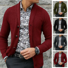 Mens Coat Slim Fit Knitted Cardigan Sweater Long Sleeve Casual Knitwear Jacket
