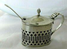 Mustard , spoon & liner.  Solid silver .Birmingham,1933  .Christmas gift in box.