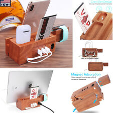 For Mobile Phone iWatch iPad Wood Charging Dock Station Charger Stand Holder