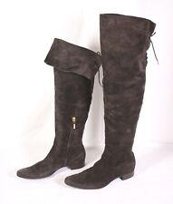 S17 Ralph Lauren Overknee Stiefel Boots Leder braun Gr. 40 Schnürung Stulpen