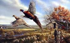 James Meger Praire Dancehall Pheasant Print Signed 14 x 9.25