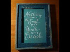 Walk On The Beach Wood Framed Sign Ocean Blue Weathered Seaside Home Decor NEW
