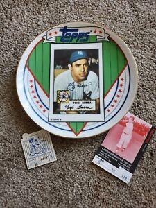 Vintage Yogi Berra Topps Commemorative Plate #12,515 New York Yankees signed