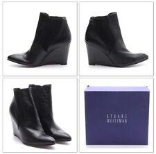 Stuart Weitzman Black Leather Wedge Swaying Ankle Boots Size 10 M NEW