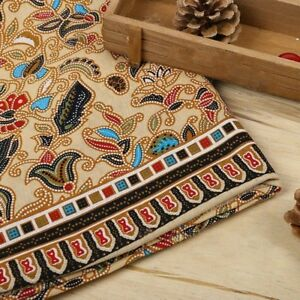 Vintage Ethnic Cotton Linen Fabric Floral Dress Table Cloth Upholstery By Metre