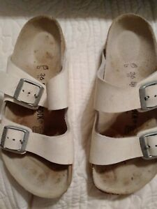 Birkenstock Womens White Oiled Leather ARIZONA Sandals Sz 36