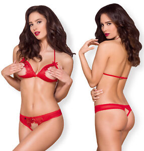 OBSESSIVE 870 Luxury Padded Open Cup Bra and Matching Crotchless Thong Set