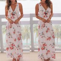 New Women Summer Beach Sleeveless V Neck Floral Print Maxi Long Party Prom Dress