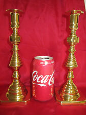 """Pair Vintage Baldwin Solid Brass Beehive 9.75"""" Tall Candlesticks Candle Holders"""