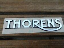 LOGO THORENS, PVC couleur Alu brossé,épaisseur 1.6 mm, dimension 107 x 25 mm