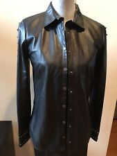 NEW Zadig & Voltaire Women's Black Studded Shirt Button Down Jacket Size M