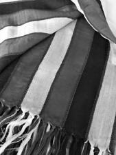 NEW 100% Cotton Scarf. Black, silver and white stripes. Classic piece