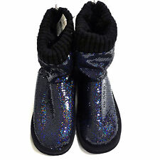 Victoria's Secret Pink Mukluk Boot Bootie Fur Lined Bling Sequins Slipper New Vs