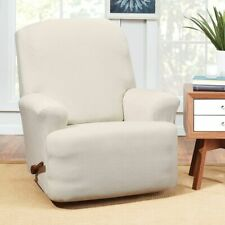 sure fit Stretch Hudson Recliner Slipcover | One Piece | Machine Washable cream