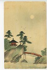 Antique Original CHINESE PAINTING Postcard Hand-Painted Landscape China 1910s