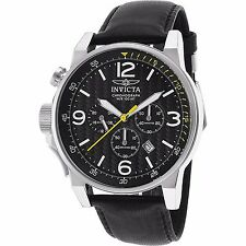 Invicta Mens I Force Lefty Japanese Quartz Chronograph Leather Strap Watch