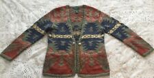 Ralph Lauren Vintage Hand Knit Southwestern Navajo Indian Cardigan Sweater P/M