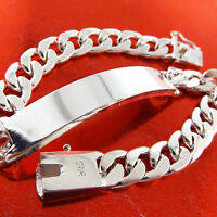 Mens ID Bracelet Bangle Real 925 Sterling Silver S/F Solid Cuff Initial Design
