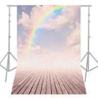 5*7ft Rainbow Wood Floor Photography Background Backdrop Photo Studio Props Q9Z9